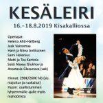 Kesäleiri 16.8.-18.8.2019 Kisakalliossa
